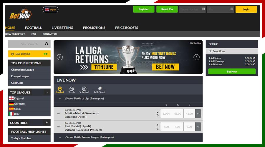 BetYetu Website — Kenyan Betting